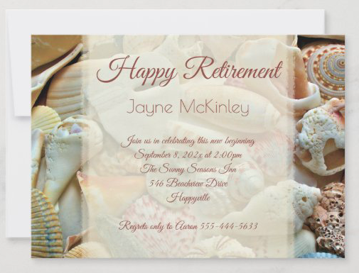 Pretty beach shells retirement party invitations with tropical seashells background mauve text