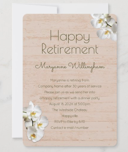 Female happy retirement party invitation template white orchids wood grain background
