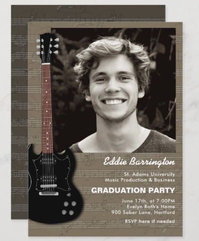 music major guitar photo graduate announcement and graduation party guys electric black