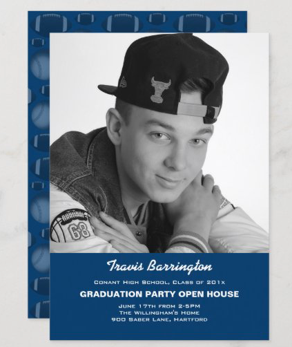 Photo sports graduation announcement with party information navy blue high school open house