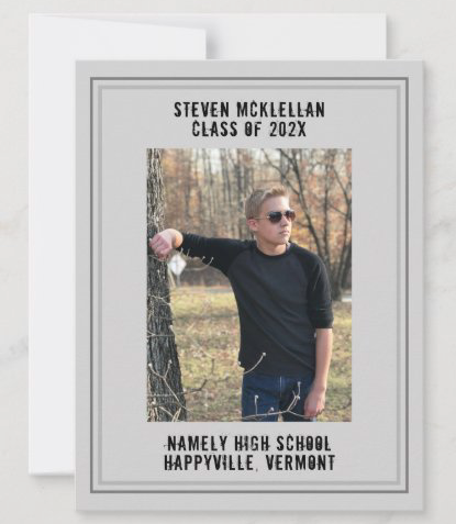 Gray graduation photo announcement for son class of simple masculine template