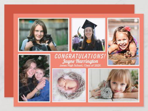 multi-photo daughter's graduation announcement card coral orange peach