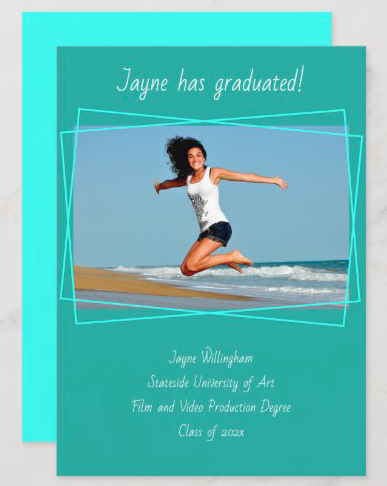 tropical blue graduation hand-printed font announcement cards photo template aqua teal