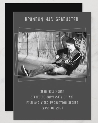 boy graduation black gray photo announcement