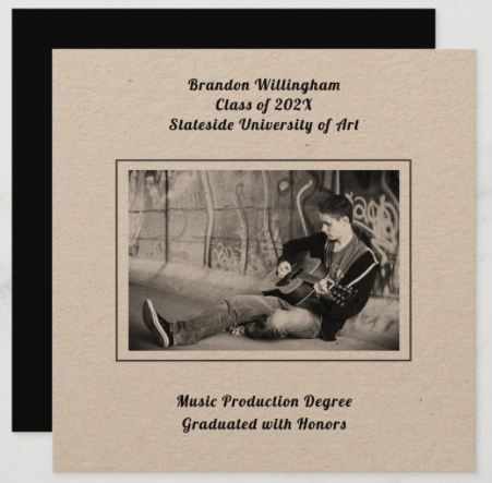 black and white photo graduation announcement kraft paper square simple