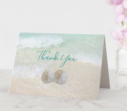 Sand dollars wedding thank you card with message