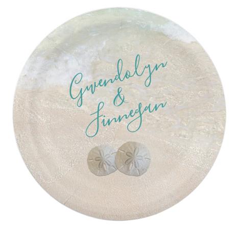Sand dollars wedding paper plates custom text