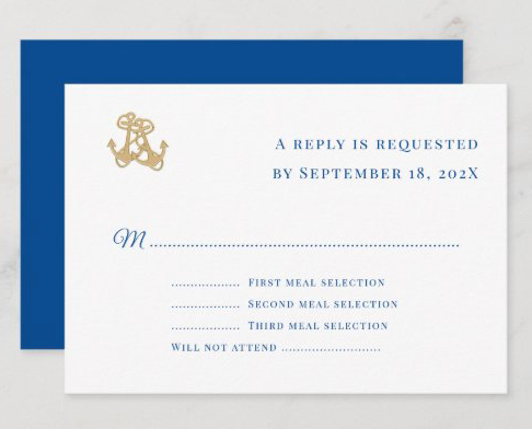 menu reply cards nautical theme two anchors white blue text