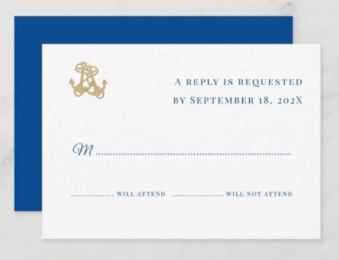 Gold anchors nautical wedding reply cards