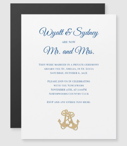Private wedding, reception only nautical invitation with magnetic backing