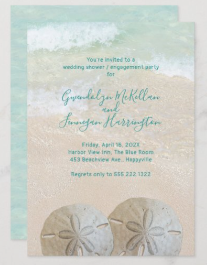 Two sand dollars wedding engagement party shower invitation