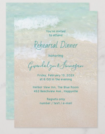 two sand dollars rehearsal dinner invitations