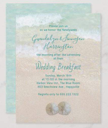 Two sand dollars wedding breakfast invitation