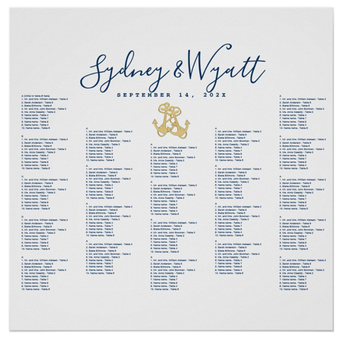 Wedding seating chart poster nautical anchors