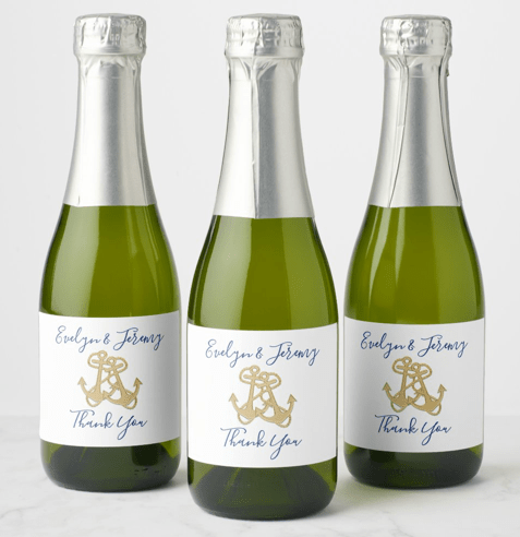 gold anchors wedding wine champagne bottle labels