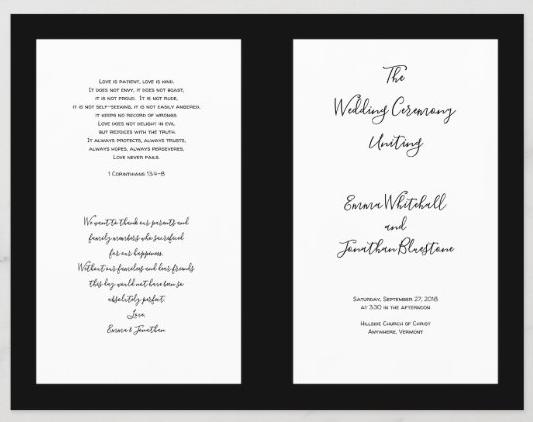 Wedding program Catholic ceremony black and white