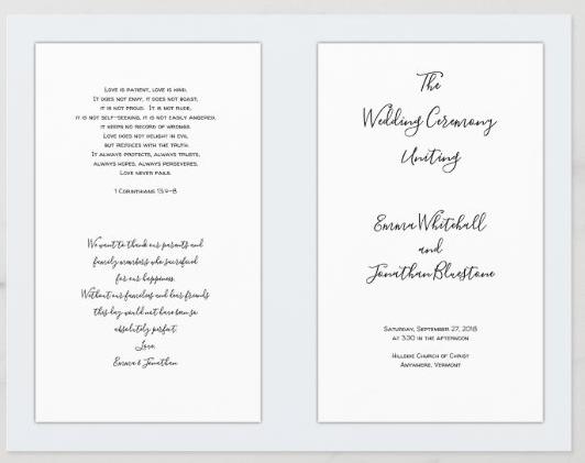 Folded wedding program Catholic ceremony pale blue template