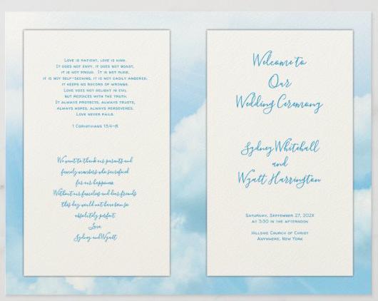 Christian wedding Catholic program blue sky