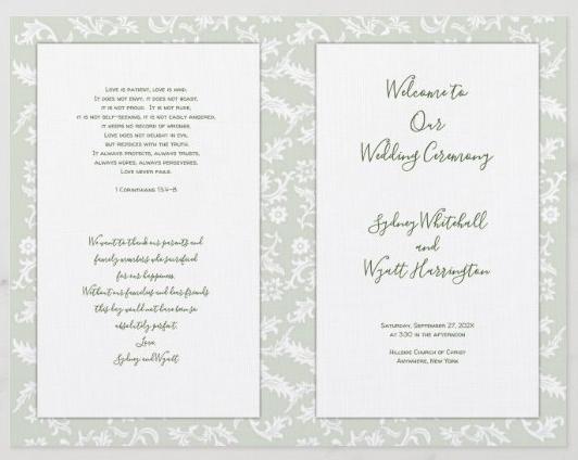 Wedding program church Catholic leaves background