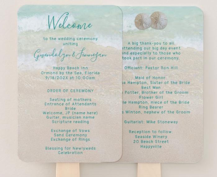 sand dollars fan program beach wedding