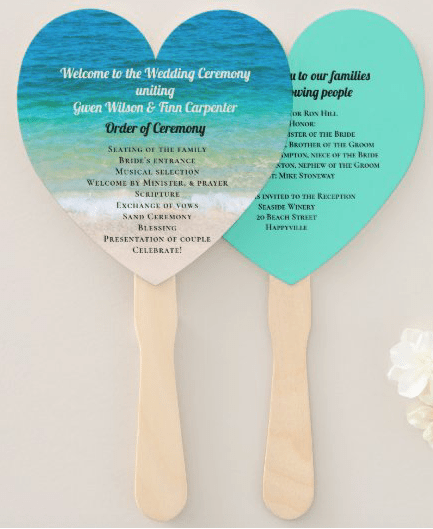 heart shaped beach wedding program fan ceremony thank-you