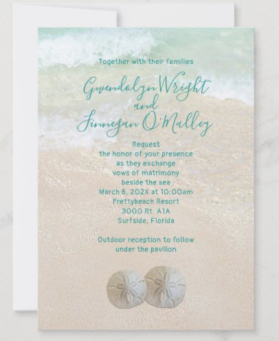Traditional invitation wording beach wedding two sand dollars